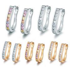 Classic U-Shape Huggie Silver & Gold Filled Channel Diamond Crystal Lady Earring