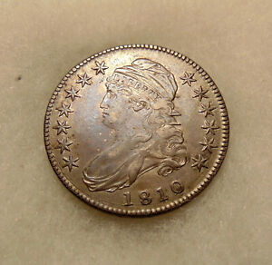 1810 Capped Bust Half - Overton 102a - Sharp Looking PQ Coin - FREE SHIPPING
