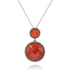14K ROSE GOLD PAVE DIAMOND RED AGATE CIRCLE DROP  PENDANT NECKLACE