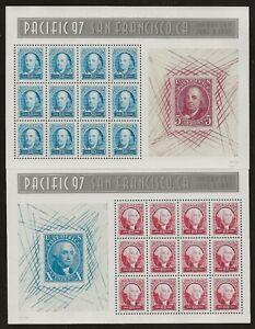 US MNH Sc #3139-3140 Panes of 12 Franklin 50c & Washington 60c Pacific 97
