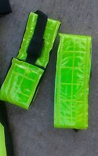 Set of YELLOW Reflective Leg Bands w/ Velcro & Buckle Closures NEW HORSE TACK!
