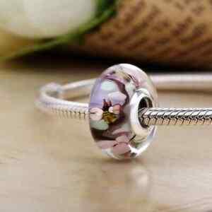 Charm Anhänger f. Pandora Liebe Murano Glas Blume bunt Rose 925 Sterling Silber