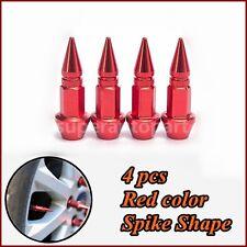 US 4 pcs Red Tire/Wheel Air Stem Valve Caps 45MM Spike Shape  Car Auto Bike