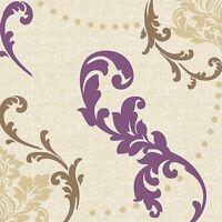 Amethyst Fleur-de-lis Disposable Lunch Paper Napkins 3-Ply For Parties 60 Count