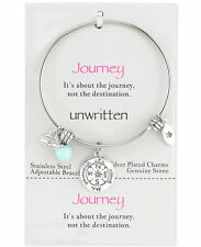 "Unwritten Stainless ""JOURNEY"" Adjustable Bangle Silver Plate Charm Bracelet"
