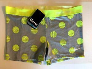 NEW NIKE PRO [XL] Womens 3.0'' Compression Shorts-Grey/Yellow 522703-068