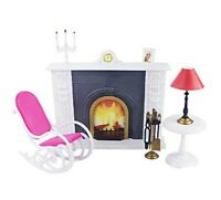For Barbie Furniture Hearth Miniature Fireplace PlaySet with Rocking Chair