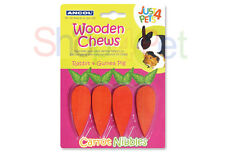 ANCOL CARROT NIBBLES - WOODEN CHEWS 4 SMALL PETS,  TRIMS & CLEANS TEETH