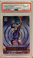 2019 Panini Donruss Optic T-Minus 3,2,1 Purple 9 LeBron James PSA GM 10 LA Laker