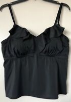 Swimsuits For All Women's Plus Size 20 Black Ruffle Collar Tankini Swimwear NWT