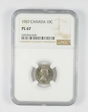 PL67 1957 Canada 10 Cents - Graded NGC *091