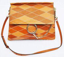 Chloe Women's Faye Patchwork Calfskin Leather Shoulder Bag, Caramel, MSRP $3,450