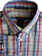 GANT Shirt Mens 16.5 L Multi-Coloured Check HAMPTON PINPOINT DRESS FIT