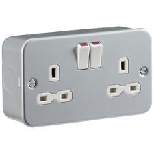 Knightsbridge Metal Clad 13a 2g DP Switched Socket