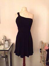 NEW BCBG Black One Shoulder Shirred Matte Jersey Short Dress SZ 2