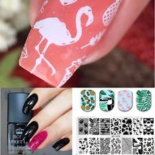 Flamingo Image Stamp Plates 6ml Black Stamping Polish Nail Art Manicure Kit DIY