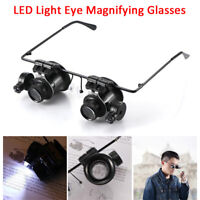 20X Eye Magnifier Magnifying Glasses Jeweler Watch Repair LED Light Loupe Lens-R