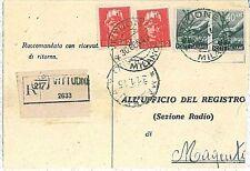 ITALIA REPUBBLICA: storia postale - DEMOCRATICA - RACCOMANDATA da VITTUONE 1945