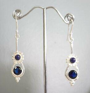 925 Sterling Silver Overlaid Lapis Lazuli & Sapphire Quartz Dangle Earrings
