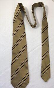 Brioni Italian Silk Tie Elegant Gold/Black/geometric/striped 110% Seta Silk