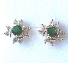 MS Designer gold filled studs, sim diamonds & emeralds GIFT BOXED Plum UK