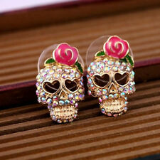 Charming Gift Fashion Cool Betsey Johnson Pink Rose Skeleton Skull Stud Earrings