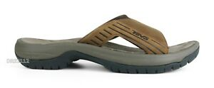 Teva Jetter Slide Cigar Brown Leather Sandals Mens Size 10 *NIB*