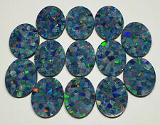 One Lot of 13 Pieces Natural Australian Mosaic Opal Doublets 20 x 15 x 2 mm Oval