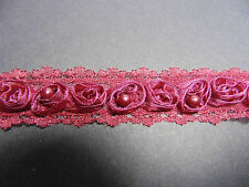 Burgundy Organza Rose & Pearl LaceTrim 1 Metre Sewing/Costume/Crafts/Corsetry