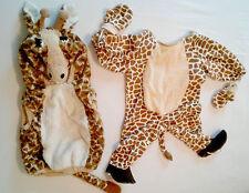 LOT Giraffe Fleece Animal fur Tail Hood Halloween costume Infants size 12-24 2T