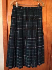 Pendleton Petite Green Navy White Plaid Wide Pleat Front Pleated Wool Skirt 10