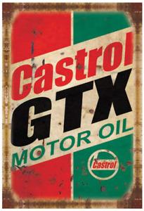 PEI's Retro Vintage Tin Metal Sign, Castrol Motor Oil, Wall Decor for Home Garag