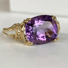 14k Yellow Gold , Amethyst & Diamond Ladies / Womens Big Cluster  Ring