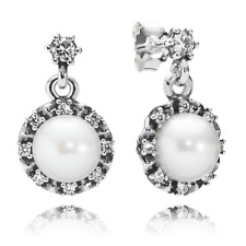 NEW! AUTHENTIC PANDORA Everlasting Grace Drop Earrings, White Pearl & CZ  ~ 9125