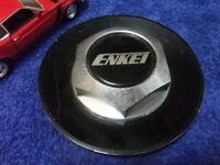 """ENKEI CUSTOM 6-1/4"""" BLACK CHROME HEX CAP WHEEL CENTER CAP HUB Silver Letters"""