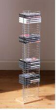 50 CD DVD VCD Titulaire Rack tour chrome unité de stockage gratuit permanent base en bois rack