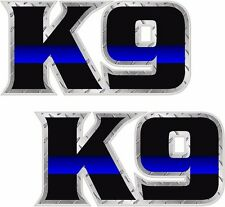 "2 - Police K9 Decal SET 3""x1.9"" K-9 Officer Dog Unit Thin Blue Line Sticker TEXT"