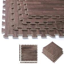 96 Sq Ft Dark Wood Grain Eva Mats Foam Interlocking Flooring Gym Exercise 24 Pc