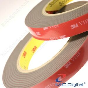 3M VHB 1 inch x 10 Feet 0.09 inch Thick Grey Double Sided Tape Tissue Adhesive
