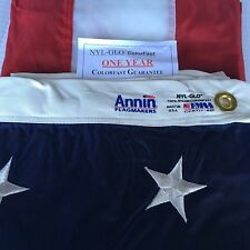 4x6 FT Annin US American Flag Nyl-Glo Nylon Embroidered Stars & 1 yr Warranty