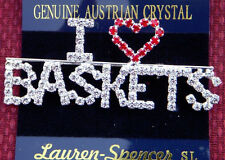 I LOVE BASKETS Pin Austrian Crystal Red  NEW BEAUTIFUL 3""