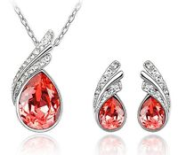 Stylish Jewellery Set Silver & Red Crystal Wings Studs Earrings & Necklace S230