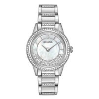 Bulova Women's Quartz Swarovski Crystal Accents Silver-Tone 32.5mm Watch 96L257