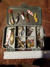 New listing Small Tackle box full Of vintage Metal Lures in used Condition