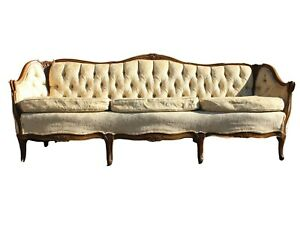 "Mid Century French Provincial Sofa White 84"" Long Curved Wood"