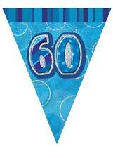 Unique Party UK Blue Glitz 60th Birthday Flag Banner 12ft 55307