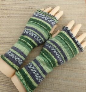 Knitted wool women arm warmers, Size M/L colorful fingerless gloves, men mittens