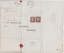 GB QV 1849 wrapper Dorchester to Salisbury with two 1d red imperf pl87 GA FH