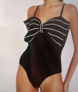 River Island Black Velvet Diamonte Bow Bodysuit Size 8