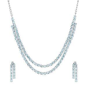 925 Sterling Silver Oval Cut Blue Topaz Gemstone Earrings Necklace Set Jewelry